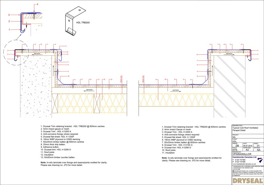 Ventilated Parapet Detail Cold Roof Hambleside Danelaw
