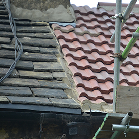 Poor mortared bonding gutter